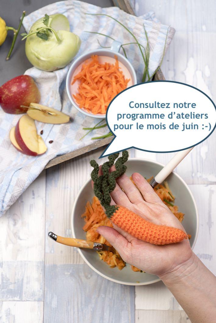 Programmation de nos ateliers culinaires pour le mois de juin.